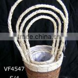 handing flower basket,handle basket,flower pot basket,flower planter,rattan basket,garden decoration,banana leaf basket