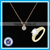 Artificial crystal gold ring necklace 2pcs set bijoux fantaisie en gros