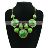 Fashion big stone chunky statement necklaces,green acrylic stone bib necklace with chunky chain