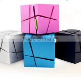 promotional gift bluetooth speaker ! mini magic cube square super bass bluetooth speaker with led light tf aux usb fm radio