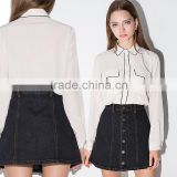 Womens Button Down Chiffon Blouse With Black Trim Long Sleeve Shirt OEM ODM Type Clothing Factory Manufacturer From Guangzhou