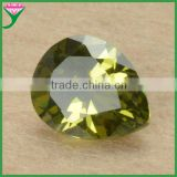 china wholesale cubic zirconia faceted loose AAA pear rough synthetic peridot for jewelry factory