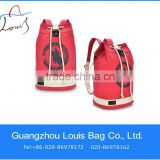 2014 multiple color red round canvas economy drawstring rucksack, waterproof military rucksacks in Guangzhou