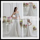 Real Sample Sweetheart A-line Crystal Beaded Chapel Train Lace Wedding Dresses xyy07-061