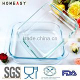heat resistant square glass baking tray