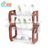 3-layer High quality Wooden dish drainer with cup and utensil holder,double plastic tray
