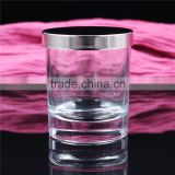 luxury thick bottom clear glass scented candle jars with metal lid