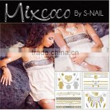 Mixcoco metallic Flash tattoo, nail body jewelry flash temporary tattoo, Custom flash tattoo silver & gold jewelry                                                                         Quality Choice