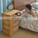 Wooden Nightstands Bedside Table With Bamboo Drawer