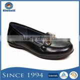 Classic Leather No Heel Flat Black Dress Shoes for Girls