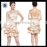 New Design Wholesale Custom Made Mini Sexy Charming Strapless Baby Pink Embroidery With Belt Cocktail Dress C0071