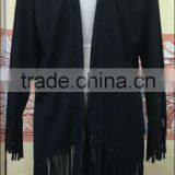 wholesale fashion women Suede Fringed Tassel Shawl Jacket Cardigan Ladies Elegant Winter Coat
