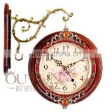 China Crystal Home Decor Cheap Double Sided Wooden Wall Clock