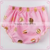 Baby new design ruffle pants baby panties bloomer wholesale price gold polka dot design