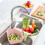 Plastic square Vegetable fruit washing Basket with drain