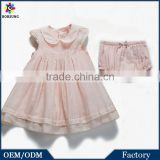 Organic Cotton Frocks Designs Baby Clothes 2Pcs Embroidered Pink Baby Flower Girls Summer Party Dresses