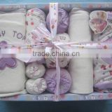 Latest Lovely Design Soft Fabric 6pcs Newborn Baby Gift Set High Quality Organic Baby Clothes