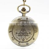 Retro Vintage Bronze Bill Cipher Gravity Falls Quartz Pocket Watch