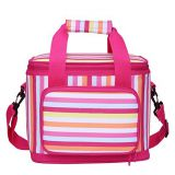 China printed pink large insulated lunch bag for women