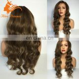 Finest Quality Wholesale Mixed Color Virgin Brazilian Blonde Long Human Hair Full Lace Wig Unprocessed Human Hair Ombre Wig