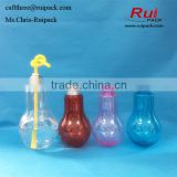 light bulb shape lovely plastic bottle(with straw) Set of plastic light bulb bottle for drinking with screw cap