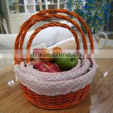 Set/3 wicker fruit basket wholesale with ribbon, home decoration, gift basket, wedding decoration
