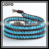 Retro Vintage Lovely Multilayer 4mm Round Blue Turquoise And Hand Knotted Brown Leather Wrap Bangle Bracelet