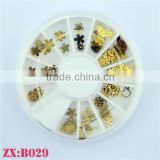 Factory Supply Easy DIY Nails Metallic Golden Nail Art Studs Wheel Stickers Jewelry for Manicure