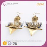 E75314L01 Alloy Gold Plated Blue Beads Cut Out Laser Cut Earrings In Ear Chain Ladies Earrings Designs Pictures