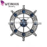 Sapphire Blue Crystal Ship Wheel Navy Marine Sailor Brooches and Pins
