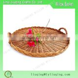 Factory Wholesale Large French Wicker Tray Serving Round Woven Platter For Cheese Board Fruit Bread Pastries Deli Tableware