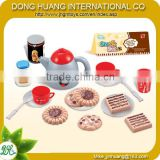 Plastic kids mini kitchen tea pot,biscuit,cookie,tea cup play set toy