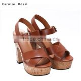 Comfortable wood ladies heels sandals fancy brown footwear