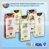 Flat bottom kraft paper stand up pouch bag Coffee beans bag/tea packaging bag/cookie bag