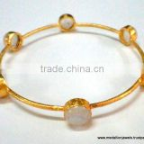 Vermeil Natural Rainbow Moonstone Gemstones Bangles, Gold Plated Matt Finish Bangles, Gold Polished Sterling Silver Bangles