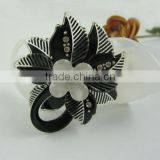 New Hair Bow Hairpin Claw Clip Black Flower Acryl Rhinestone