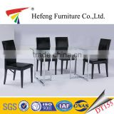 European simple design 10mm tempered glass dining table with black crocodile leather dining chair