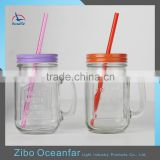 Embossed Clear 16oz Drinking Mason Jars Mug Hot Sale Wholesale Glass Mason Jars With Straw Lid
