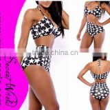 High Waist Black Suspenders Sexy Bandage Bodycon Bikinis Swimwear Swimsuit New Arrivals White Stars Print Beachwear lowest price
