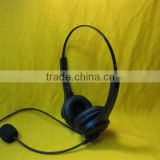 binaural telephone headset with microphone QD cord/RJ-11 -9/USB/DC plug for calling center & telemarket