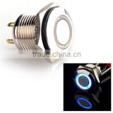 250V 16mm LED Lighted Ring Illuminated Momentary Push Button Switch Flat Head For Car Truck Boat Waterproof IP65