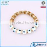 High quality white blue evil eye bead with gold crystal wheel bracelet turkish jewelry wholeslale
