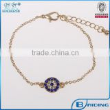 China wholesale gold cz micro paved beads evil eye charm turkish bracelet jewelry supplier
