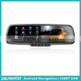 android gps mirror with bluetooth dual camera 1080p car dvr rearview, rear view mirror dash cam