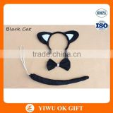 Black Color Cat Ears Headband With Bow Tie And Tail For Party Decoration Favor Bow Tie Set