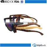 Colorful bamboo&wooden temple PC or nylon frame handmade wooden sunglasses with spring hinge