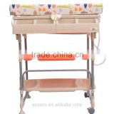 HOMCOM Baby Bath/Changing Table W/ Tub-Beige