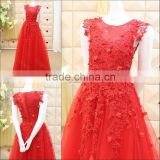 Custom Made Real Picture Red Evening Dresses 2016 Latest Lace Applique Beaded Long Party Dresses Free Shipping ML171