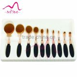 10pcs yellow handle makeup kit free samples/metal retractable lip cosmetic applicator tool/private label make up brush set