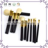 good black golden wood 12pcs blending make up brushes cosmetics makeup brushes set private label beauty tools
